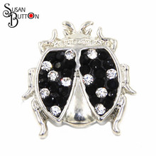 12pcs/lots Rhineston White & Black Beetle Snap Button Jewelry Fit for Snap Ginger Diy Charm bracelet Necklace SJSB574