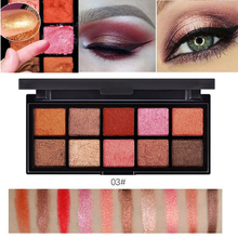 10 colors glitter eyeshadow powder pigment waterproof sexy red shimmer eyeshadow palette peach nude warm eye shadow cream BN045(China)