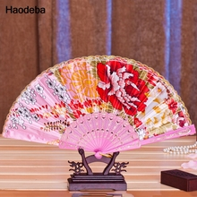 1PCS Chinese Folding Fan Hand Plastic Lace Silk Flower Dance Fans Wedding Christmas Party Gift Summer 8 Colors