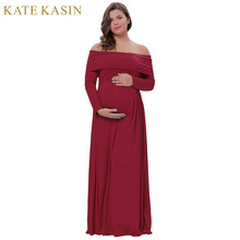 Kate Kasin Off-Shoulder Women Sexy 50s Vintage Autumn Dresses Straight Neck High Stretchy Party Formal Maxi Dress For Pregnant(China)