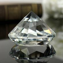 High Quality Handmade 100MM Clear Glass Diamond Crystal Pure Diamond Paperweight Desk Table Decoration Festival crafts Gifts(China)