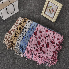Fashion Vintage Style Tassel Leopard print Scarf Womens Spring Autumn Square Scarf Shawl Silk Pashmina Leopard Scarves