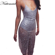 Dancing party dress 2017 Summer dresses Sexy sleeveless V-neck  Silver sequin bodycon vestidos party night wear *Large Stock*