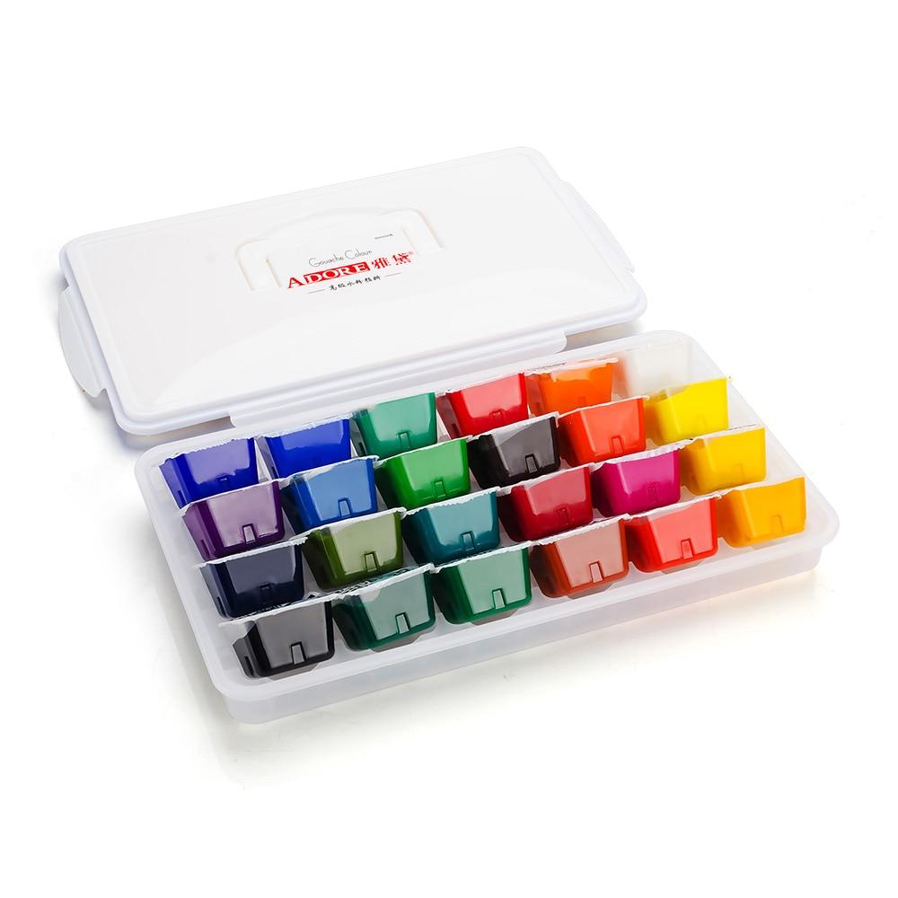24 Portable Color Gouache Paint Set Unique Jelly Cup Design with Individual Paint Pan for Artists , Students<br>