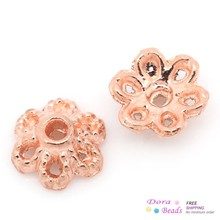 "DoreenBeads Bead Caps Flower rose gold color (Fits 8-12mm Beads) 6mm x 2.5mm( 2/8""x 1/8""),Hole:Approx 1mm,500PCs (B29893)"