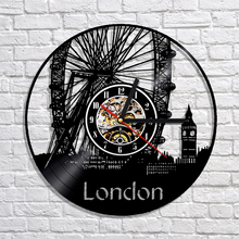 "Free Shipping 1Piece European Style London Cityscape Antique Wall Clock 12"" Decorative Vinyl Record CD Clock Fashion Home Decor"