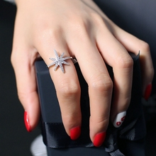 MIGGA High Quality Micro Paved Cubic Zirconia Star Ring for Women CZ Stone Crystal Bague Jewelry(China)