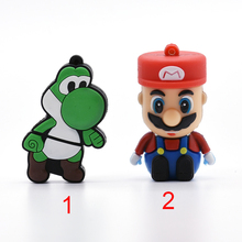 Mario cartoon pen drive USB Flash Drive 8GB Mario Dinosaur shaped 64GB memory stick u disk 4GB 16GB 32GB pendrive(China)