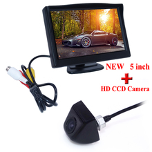 170 Degree Car Styling 2016 Reverse Camera With Monitor Car Rear View Camera Car Mirror Monitor 5inch  Car Accessories CCD New