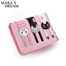 Mara's Dream Women Wallet Girl Mini Lovely Purse Gato Sewing On Clutch Bifold PU Leather Wallet Card Holder(China)