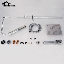 1 Set  Twin Head Round Bathroom Shower Set Thermostanic Shower Mixer Complete Units Chrome Bathroom Bath Brass Chrome Wall SR2