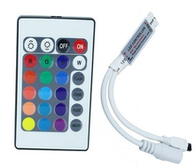 HOT SALE DC12V 24Keys MINI RGB Controller IR Remote Control With Mini Receiver For 3528/5050 5630 3014 RGB LED Strip Light(China)