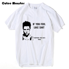 Film Fight Club T shirt Men 2017 Summer If You Feel Like Shit Letter T-shirt Male Hip Hop Tees Short Sleeve Custom shirts