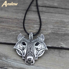 Anslow Brand Norse Vikings Pendant Necklace Norse Wolf Head Necklace Original Animal Jewelry Wolf Head hange Cheap Price D010