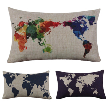 The World Map Pattern Print  Throw Pillow Case for Home Livingroom Bed Bar Restaurant