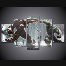 Unframed Canvas Painting Ironman VS Hulk Comics 5 Pcs Modern Poster Oil Painting On The Wall Art Canvas Pictures For Living Room