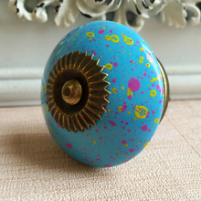 Sky Blue Ceramic-Like Kitchen Cabinet Drawer Knobs Acrylic Wardrobe Handles Rural Vintage Pull