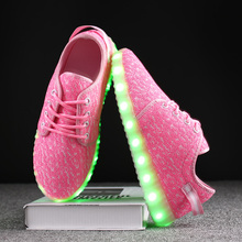 Children Shoes Breathable Fashion Boys & Girls Sneakers 7 Colorful LED Lights With USB  Rechargeable Fluorescent Luminous