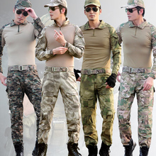 Military Army Combat Uniform Tactical Hunting Clothing Shirt + Pants Desert Digital Camo Clothes With Detachable Knee Pads