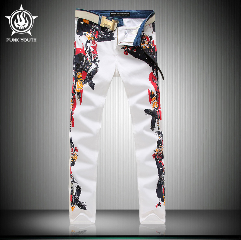 Men Fashion White Men Jeans Fashion Casual Side Pattern Printing Hot Sale Slim Straight Cotton Trousers HOT SALE Size 28-38Одежда и ак�е��уары<br><br><br>Aliexpress