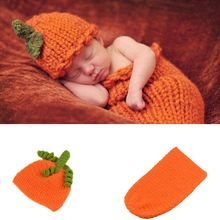 Baby Pumpkin Hat Photography Prop Crochet Knitted Cap For Boys Girls Halloween Costumes