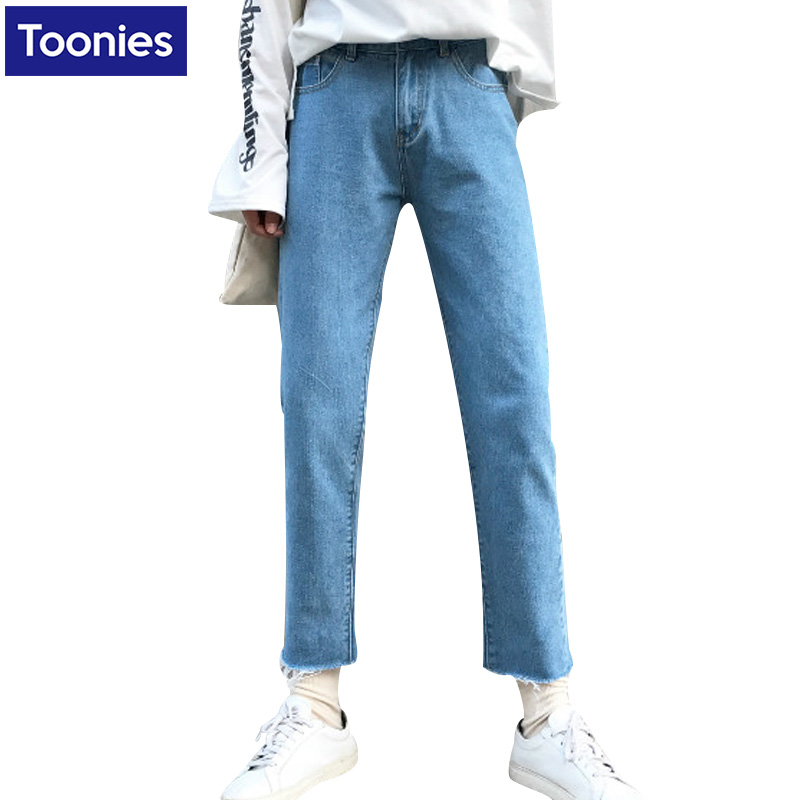 For Winter Womens Fashion Loose Jeans Pants Long Length Hole High Waist Cotton Slim Colid Color Bottom Female Fashion Long JeanОдежда и ак�е��уары<br><br><br>Aliexpress