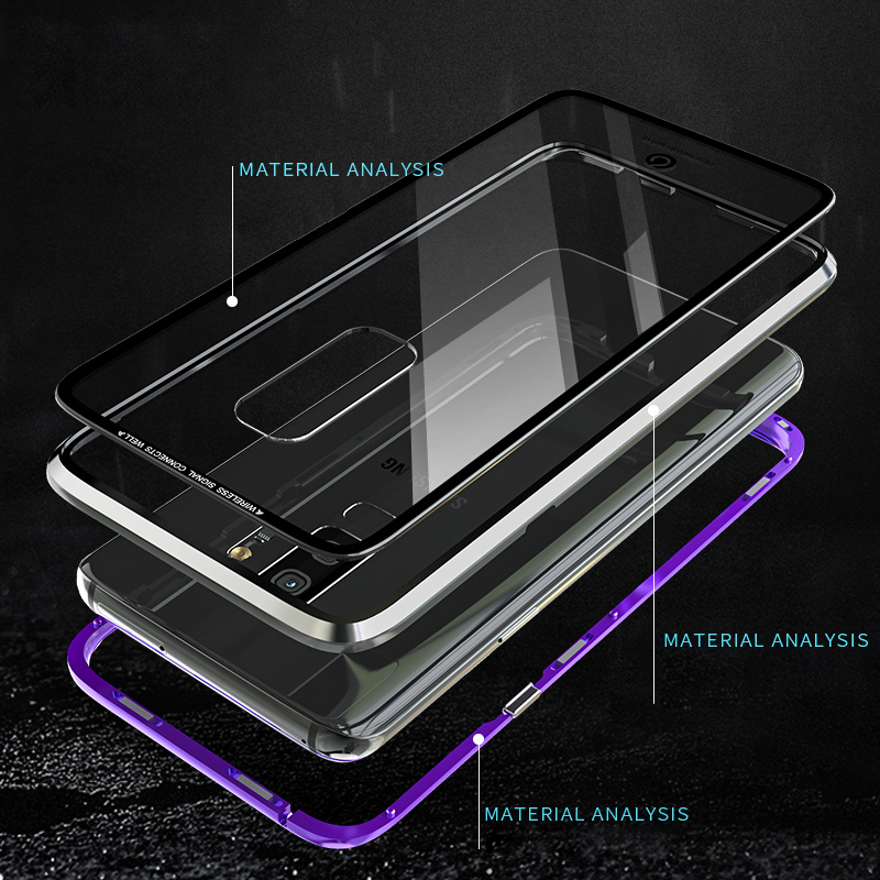 Luxury-Magneto-Magnetic-Adsorption-Metal-Phone-Case-For-Samsung-Galaxy-S9-Plus-Tempered-Glass-Transaprent-Cover
