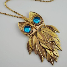 2017 Hot Sale New Arrival Vintage Style Green Eyed Owl Pendant Necklace --crystal shop free shipping