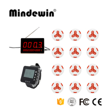 Mindewin Wireless Emergency Paging System 12 Waiter Call Buttons +1 LED Display Receiver +1 Wrist Watch Pager Restaurant Pager(China)