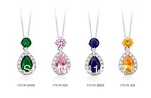 Top quality Swiss CZ Necklaces 4 COLOR CHOICE Cute Jelly Drop Cubic Zirconia Pendant Necklace For Women Free Shipping(China)