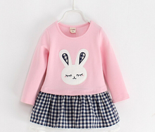 2017  Autumn  Sweet Toddler Baby pink  Girls Rabbit Style Dress Ruffles Casual Fashion Dresses Easter Dress baby girl clothes
