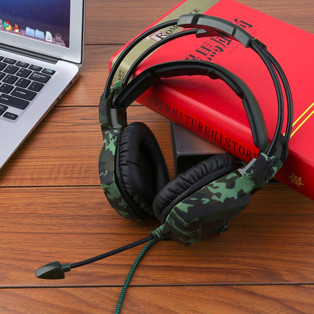SA-931 Universal Super Stereo Bass Camouflage Headphones Home Office Gaming Gamer Noise Isolation Comfortable Headsets<br>