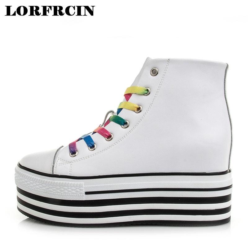 LORFRCIN Shoes Woman Platforms Casual Shoes Lace-up Increased Internal Wedges High Top Shoes Black Women Shoes sapato salto alto<br>