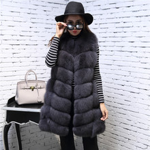 Buy Long Dark Grey Grid Fox Fur Vest Genuine Real fur Gilet Outwear coat sleeveless plus size customized leather patchwork for $275.71 in AliExpress store