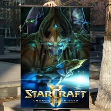 Space StarCraft 2 HD Game Scrolls Movie Poster Wall Sticker Banners Hanging Waterproof Cloth Art Bedroom Living Room Decoration