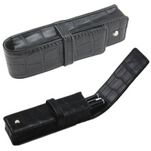 NEW DISIGN CROCODILE SKIN PATTERN PU LEATHER GIFT PEN CASE ACCOMMODATES TWO PENS BLACK(China)