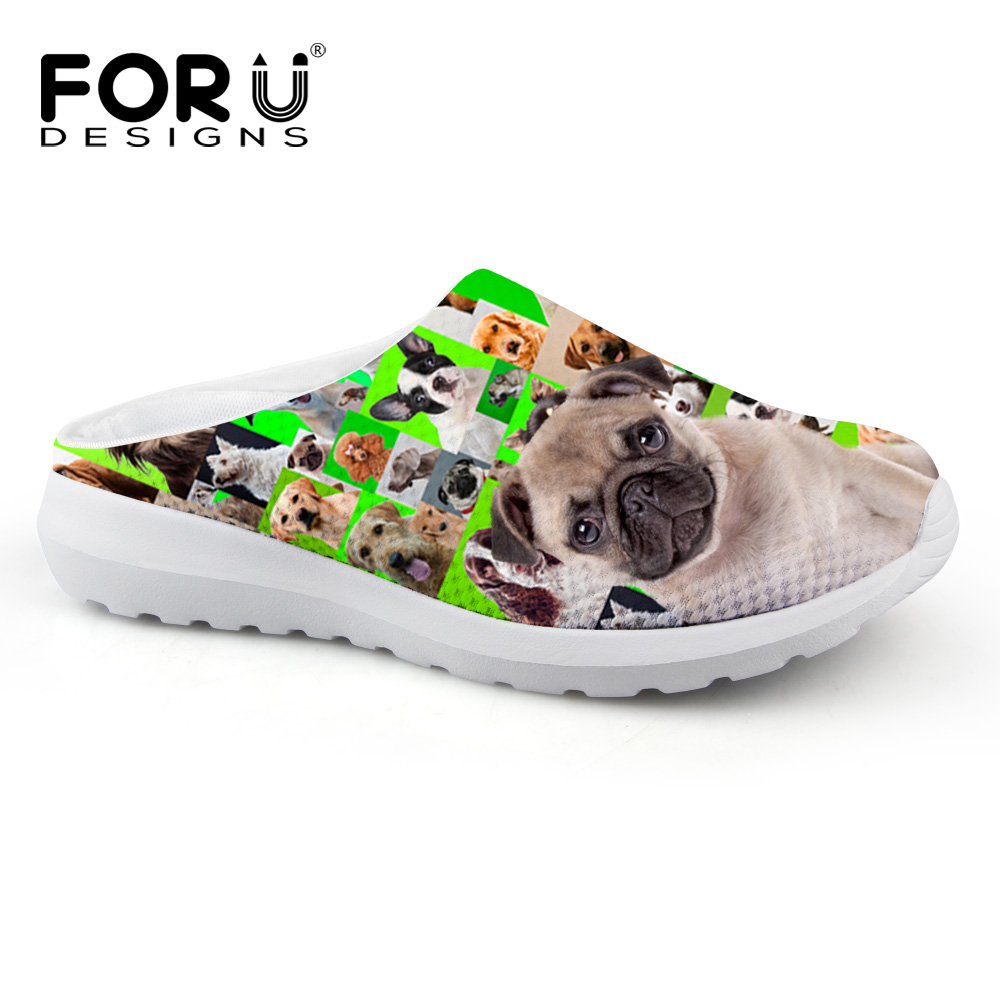 FORUDESIGNS Women Mesh Sandals Breathable Summer Beach Water Shoes for Female Cute Pet Dog Pug Printing Slip on Flat Sandals<br><br>Aliexpress