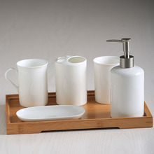 6 pieces for a lot Bathroom Ceramic Suite Toiletries Mugs Hand Sanitizer Bottle Tray Soap Dish Toothbrush Holder