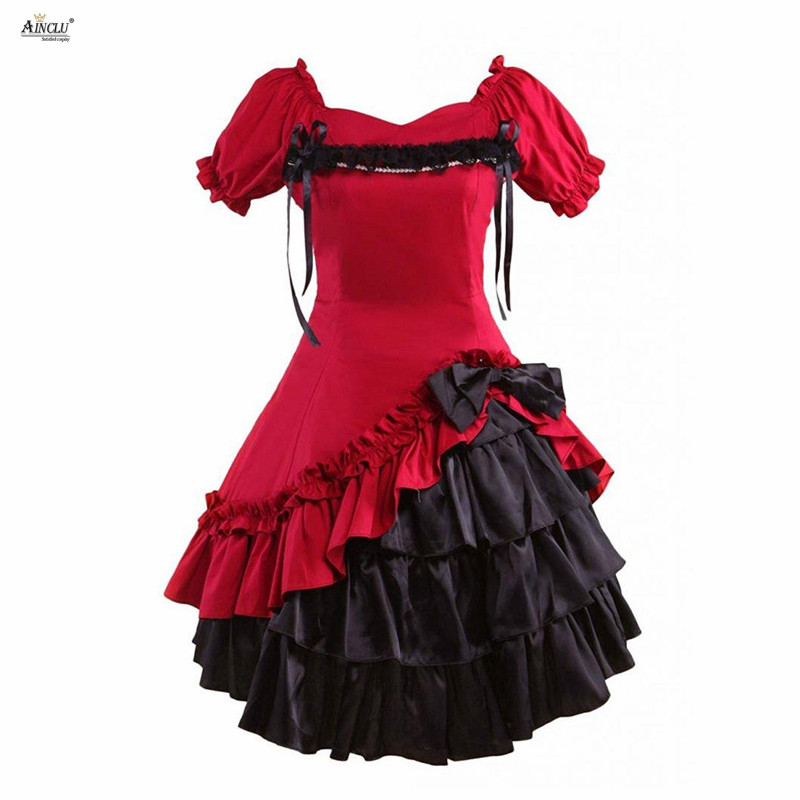 Ainclu Lolita Dress Womens Sweet Dark Red Cotton Short Sleeves Lolita Style Gothic Girls Party Lolita Dress  XS-XXL