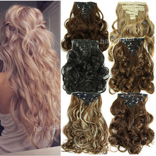 "Long NEW Women 19"" Curly Wavy Hair Extensions Full head Clip in Hair Extension Extentions real thick as remy style human favored"