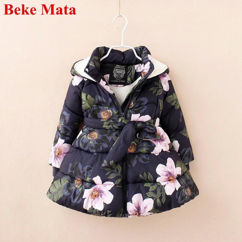 Beke Mata Kids Jackets For Girls 2017 Cotton Warm Thicken Girl Winter Coat Floral Print Toddler Girl Parkas Children JacketÎäåæäà è àêñåññóàðû<br><br>