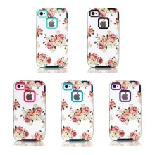 For Apple iPhone 4 4S Case Peony Flower Design Case 3in1 High Impact Heavy Duty Hard Rugged Rubber Case Cover For iPhone4S