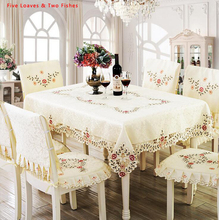 Hot Sale Polyester Fiber Flower Tablecloth Hollow Embroidery Tablecloths Round Tablecloth Rectangular Table Cloth Table Cover