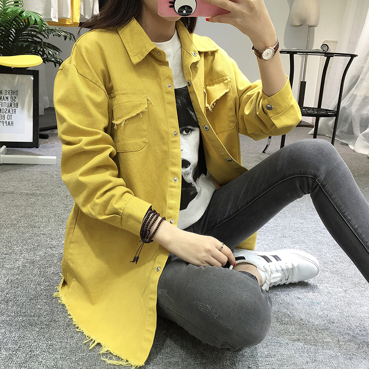2018 Spring Autumn New Long Section Lapel Tassel Denim Jackets Women Loose Casual Long Sleeve Female\'S Thin Basic Jacket Coats (9)