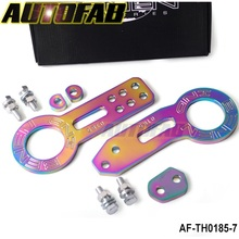 AUTOFAB - NEO-Chromatic plating Universal Anodized Front+Rear Tow Hook Billet CNC Aluminum Towing Kit For JDM Racing AF-TH0185-7