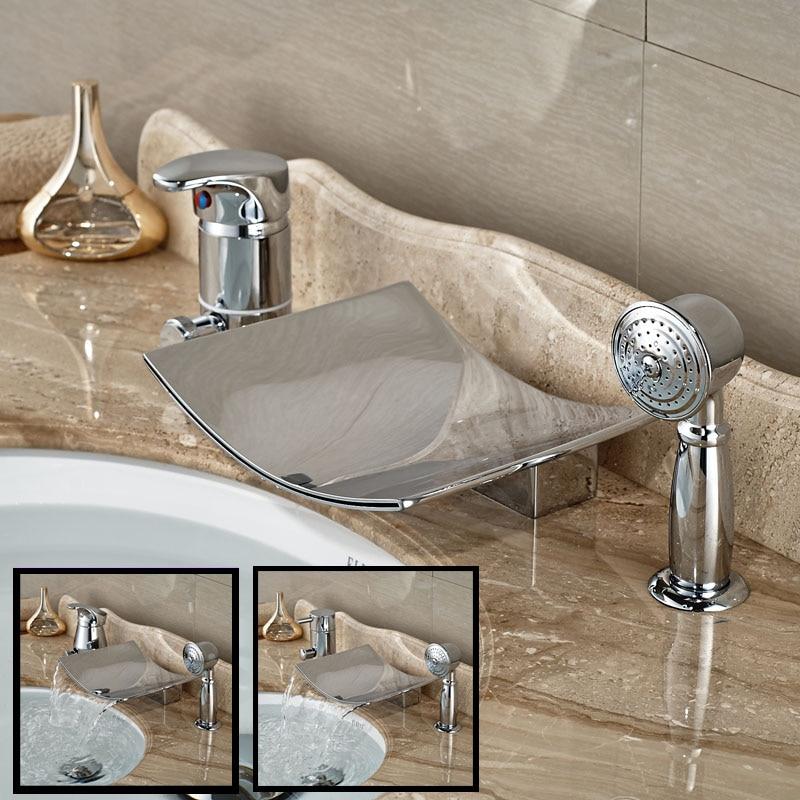 Luxury Bathroom 3pcs Tub Filler Single Handle Waterfall Bathtub Faucet Deck Mount Chrme Finished<br><br>Aliexpress