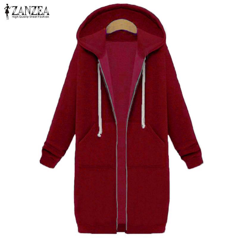 Oversized 2017 Autumn Women's Casual Long Hoodies Sweatshirt, Coat, Pockets, Zip Up, Outerwear Hooded Jacket 17