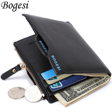 Fashion Short Small Zipper PU Leather Euro Men Wallet Designer Coin Purse Case Pockets Clutch Male Bag Card Holder Bifold Pouch