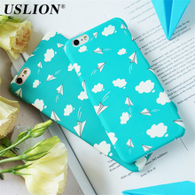 USLION Phone Case For iPhone 6 6s Plus 7 7 Plus Fashion Lovely Cartoon Airplane Blue Sky White Clouds Hard PC Phone Case Cover