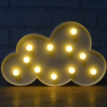 3D Cloud Night Lamp with 11LEDs 2AA Battery operated Warm White Cloud Letter Light Sleeping For Christmas Decoration Kid's Gift(China)
